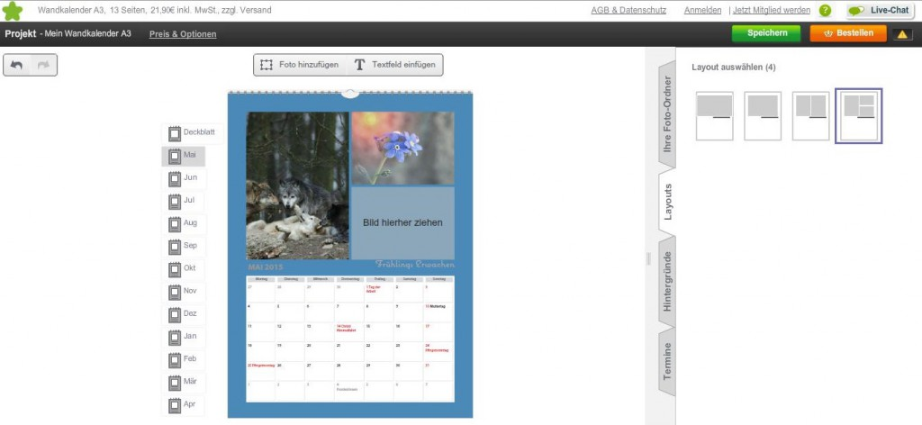 Fotokalender von Photobox Layouts