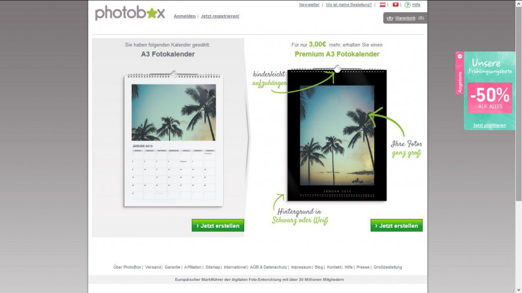 Fotokalender von Photobox Premium-Option
